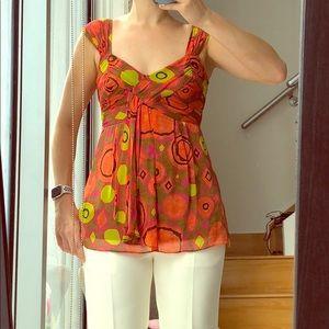 Nanette Lepore sz 2 100% silk printed top